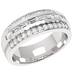 RD305W - 18ct white gold ring with 8 baguette diamonds and 26 small round diamonds surrounding