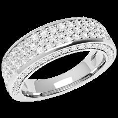 RD307W - 18kt Weissgold Ring mit 107 runden Brillant Schliff Diamanten mitsamt Diamanten auf den Seiten