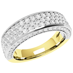 Half Eternity Ring/Dress Cocktail Ring for women in 18ct yellow and white gold with 107 round brilliant cut diamonds including diamonds on the sides