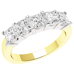RD310YW - 18ct yellow and white gold ring with 5 princess cut diamonds in a claw setting