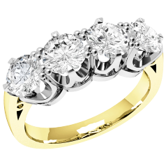 Half Eternity Ring for women in 18ct yellow and white gold with 4 round diamonds in a 6-claw setting