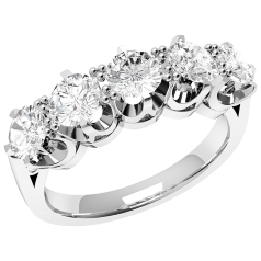 Halb Eternity Ring/Cocktail Ring mit Diamanten für Dame in 18kt Weißgold mit 5 runden Diamanten in 6er Krappenfassung