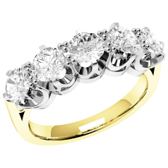 Half Eternity Ring/Dress Cocktail Ring for women in 18ctyellow and white gold with 5 round diamonds in a 6-claw setting