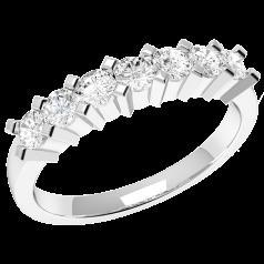 RD315PL - Inel din platină cu 7 diamante rotunde în setare cu gheare