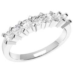 RD315W - 18kt aur alb inel cu 7 diamante rotunde, setare gheare