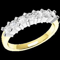 RD315YW - 18kt Gelb- und Weissgold Ring mit 7 runden Diamanten in Krappenfassung