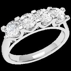 RD316W - 18kt aur alb inel cu 4 diamante rotunde, setare gheare si cu o vedere laterala in forma de U