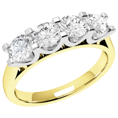 RD316YW - 18kt Gelb- und Weissgold Ring mit 4 runden Diamanten in Krappenfassung mit U-förmiger Seitenansicht