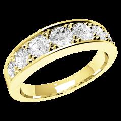 Inel Semi Eternity Dama Aur Galben 18kt cu 7 Diamante Rotunde care se Largesc spre Centru