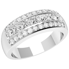 RD319PL - Platinum ring with 7 channel-set princess cut diamonds and 24 round diamonds