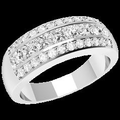 Inel Semi Eternity Dama Platina cu 7 Diamante Princess si 24 Diamante Rotunde Briliant in Setare Canal & Gheare