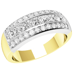 RD319YW - 18ct yellow and white gold ring with 7 channel-set princess cut diamonds and 24 round diamonds