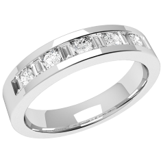 RD324PL - Platinum ring with five round & six baguette-cut diamonds