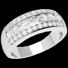 RD332PL - Platin Ring mit runden Diamanten in der Mitte, umgeben von kleinen runden Diamanten