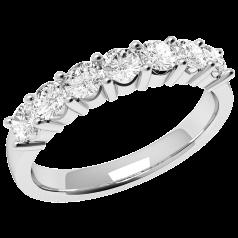 Inel Semi eternity Dama Aur Alb, 18kt cu 7 Diamante Rotund Briliant in Setare 4-Gheare
