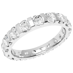RD340PL - Platinum full eternity/wedding ring with round brilliant cut diamonds in a bar-setting