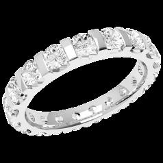 Voll Eternity Ring/Ehering mit Diamanten für Dame in Platin mit runden Brillanten in Balkenfassung