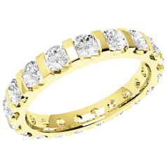 Full Eternity Ring/Diamond set wedding ring for women in 18ct yellow gold with round brilliant cut diamonds in a bar setting