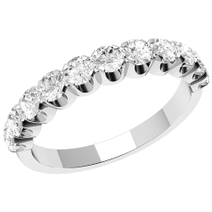 Inel Semi Eternity Dama Aur Alb, 18kt cu 11 Diamante Rotund Briliant