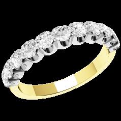 Halb Eternity Ring für Dame in 18kt Gelbgold und Weißgold mit elf runden Brillanten in Krappenfassung