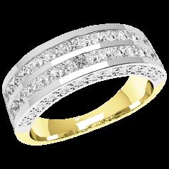 RD348YW - 18kt Gelb- und Weissgold Ring mit 2 Reihen von Princess Schliff Diamanten und mit seitlich gefassten runden Brillanten auf beiden Seiten