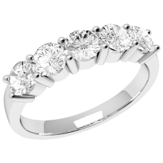 Inel Semi eternity Dama Aur Alb, 18kt cu 5 Diamante Forma Rotund Briliant in Setare Gheare