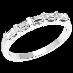 Halb Eternity Ring für Dame in Platin mit 5 Baguette Schliff Diamanten in Balkenfassung