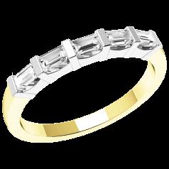 Halb Eternity Ring für Dame in 18kt Gelbgold und Weißgold mit 5 Baguette Schliff Diamanten in Balkenfassung