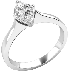 Single Stone Engagement Ring for Women in 18ct White Gold with a Marquise Cut Diamond in a 4-Claw Setting