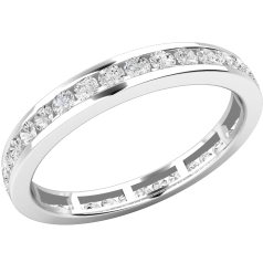Full Eternity Ring/Diamond set wedding ring for women in 9ct white gold with round brilliant cut diamonds