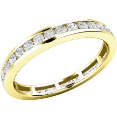 Full Eternity Ring/Diamond set wedding ring for women in 18ct yellow gold with round brilliant cut diamonds