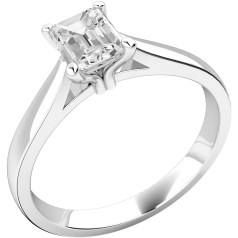 Single Stone Engagement Ring for Women in 18ct White Gold with an Emerald Cut Diamond
