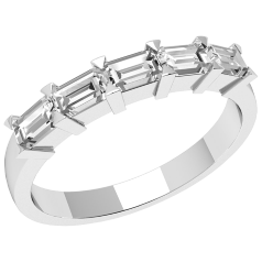 Halb Eternity Ring für Dame in Platin mit fünf Smaragd-Schliff Diamanten in Krappenfassung