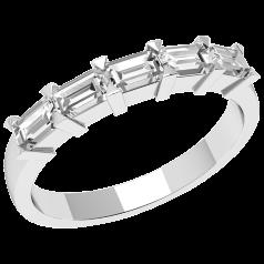 Inel Semi Eternity Dama Aur Alb, 18kt cu 5 Diamante Forma Smarald in Setare Gheare