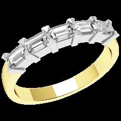 Halb Eternity Ring für Dame in 18kt Gelbgold und Weißgold mit fünf Smaragd-Schliff Diamanten in Krappenfassung