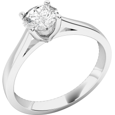 Single Stone Engagement Ring for Women in Platinum Set with a Round Diamond