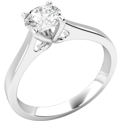 Single Stone Engagement Ring for Women in Palladium Set with a Round Diamond