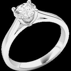 Solitär Verlobungsring für Dame in 18kt Weißgold mit einem runden Diamanten