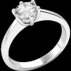 Solitär Verlobungsring für Dame in 9kt Weißgold mit einem runden Brillantschliff Diamanten in 6er Krappenfassung