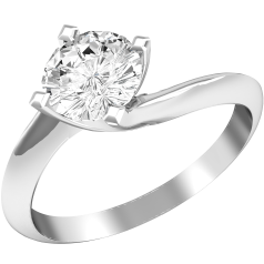 Single Stone Twist Engagement Ring for Women in 18ct White Gold with a Round Brilliant Cut Diamond in a Claw Setting