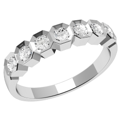 RD366/9W - 9ct white gold ring with seven round diamonds
