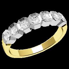 RD366YW1 - Inel semi eternity Dama Aur Galben si Alb 18kt cu 7 Diamante Rotunde in Stoc