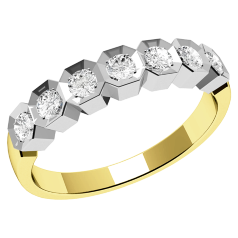Inel semi eternity Dama Aur Galben si Alb 18kt cu 7 Diamante Rotunde in Stoc