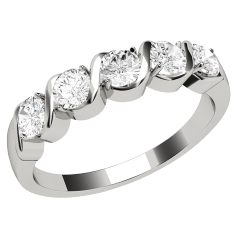 Half Eternity Ring for women in platinum with 5 round brilliant diamonds on Offer