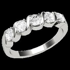 Inel Semi Eternity Dama Aur Alb, 18kt cu 5 Diamante Rotund Briliant Setate cu Gheare