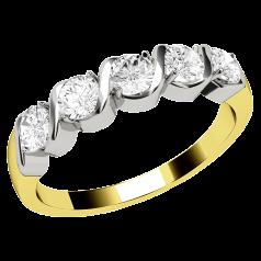 Halb Eternity Ring für Dame in 18kt Gelbgold und Weißgold mit 5 runden Brillant Schliff Diamanten in Krappenfassung
