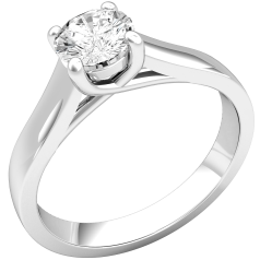Single Stone Engagement Ring for Women in 9ct White Gold with a Round Cut Diamond