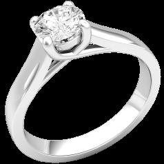 Solitär Verlobungsring für Dame in 9kt Weißgold mit einem Brillantschliff Diamanten