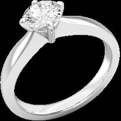 Inel de Logodna Solitaire Dama Platina cu un Diamant Rotund Briliant in Setare Gheare