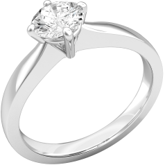 Single Stone Engagement Ring for Women in 18ct White Gold with a Round Brilliant Cut Diamond in a Four Claw Setting